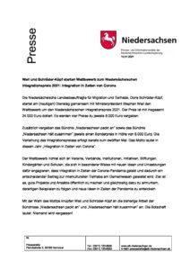 thumbnail of Nds. Integrationspreis 2021 – Pressemitteilung Ausschreibung